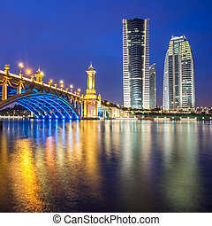 Scenic Bridge at night in Putrajaya, Malaysia.