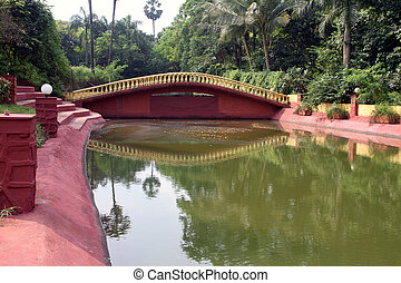 Scenic bridge on a lake