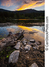 Scenic Burnell Lake at Sunset in the Mountains