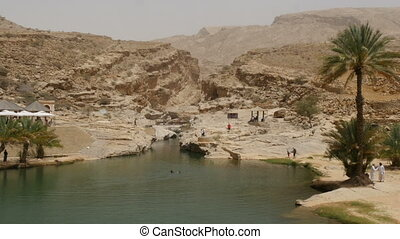 Scenic canyon Wadi Bani Khalid in oman