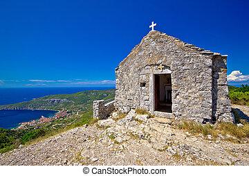Scenic chapel on top of Vis island