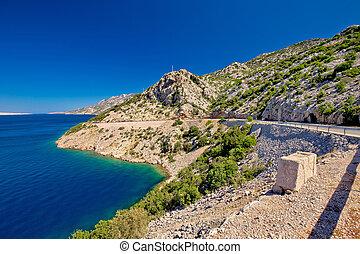 Scenic coastal road under Velebit mountain