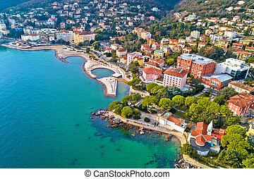 Scenic coastline of Opatija and Slatina beach aerial view, ...