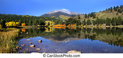 Panoramic view of Monarch peak from O'haver lake Colorado