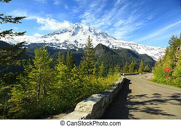 Scenic drive in Mount Rainier national park
