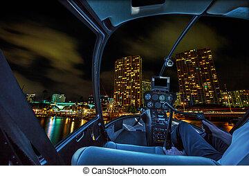 Scenic flight Honolulu night