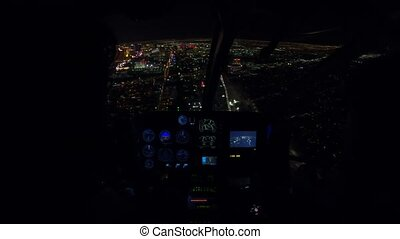 Scenic flight on Las Vegas skyline - Helicopter interior on...