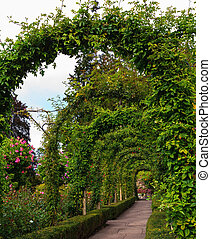 Scenic flowers twined arches