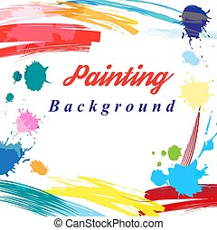 Scenic from brush strokes background. Template for posters, ...