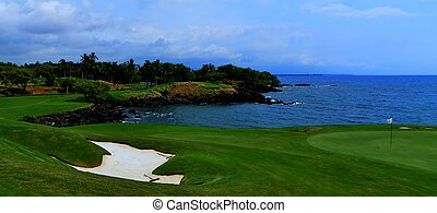 Scenic golf course on Hawaii coast