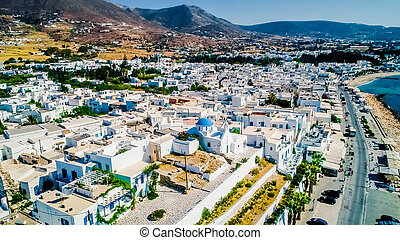 Scenic Greek town with traditional houses on the seaside, Paros island