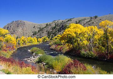 Scenic Gunnison river landscape in autumn time