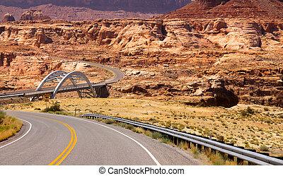 Scenic high way through Glen canyon recreation area