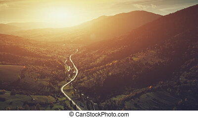 Scenic highland countryside landscape aerial view - Aerial...