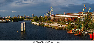 Scenic industrial district of Kiev - Scenic view of the ...