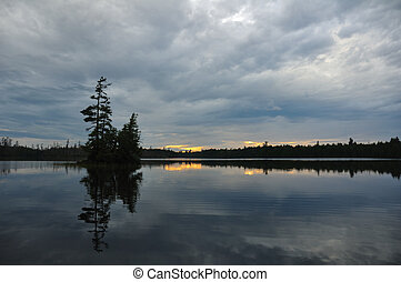 Scenic Island on a Remote Wilderness Lake at Dusk