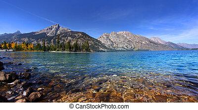 Scenic Jenny lake in Grand Tetons national park