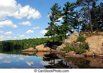 Scenic lake landscape at Algonquin provincial park, Ontario, Canada