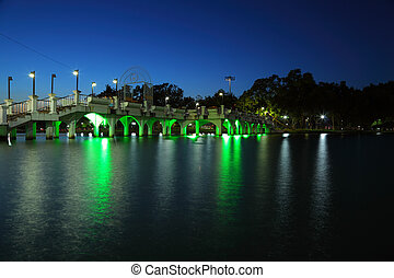 Scenic lakeside town.