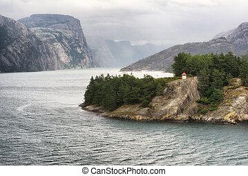 Scenic landscape in Lysefjord, Western Norway