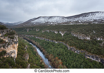 Scenic landscape of Ebro river canyon on winter season in Burgos, Castilla y Leon, Spain.