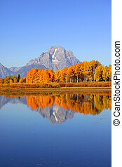 Scenic landscape of Grand Tetons range from Oxbow bend in autumn time