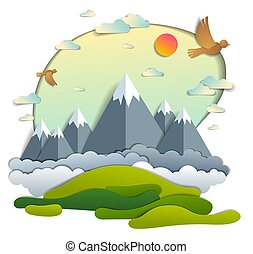 Scenic landscape of mountain peaks range, cloudy sky with birds and sun, summer vector illustration in paper cut kids style. Summer holidays, travel and tourism.