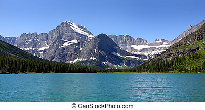 Scenic landscape of Swift current lake in Glacier national park