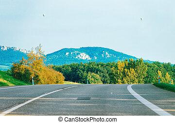 Scenic landscape with road in Slovenia Julian Alps