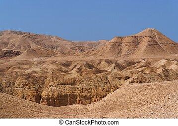 Scenic mountain in stone desert
