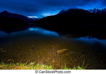 Scenic Mountain Lake after Dark