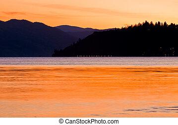 Scenic mountain Lake Sunset