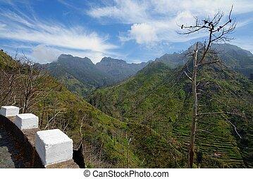 Scenic mountain landscape in Serra de Agua region on Madeira island, Portugal