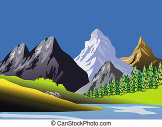 An illustration of scenic mountaineous landscape art