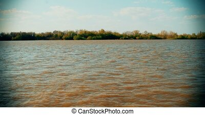 Scenic nature of beautiful fresh water Volga-river in...