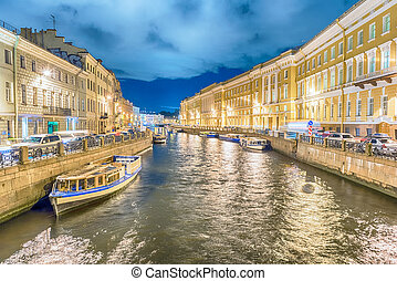Scenic night view over Moyka River embankment, St. Petersburg, Russia