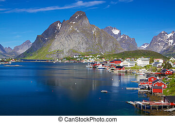 Scenic Norway in summer - Scenic town of Reine by the fjord...