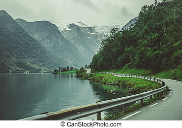 Scenic Norwegian Route Along the Lake