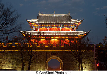 Scenic of city gate and city wall in ancient city of Dali at Yun