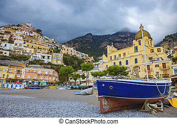 scenic of original wooden boat in positano mediterranean sea southern of italy important traveling destination