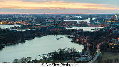 Scenic old city architecture sunset panorama of Stockholm, Sweden time-lapse