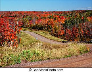 {scenic, otoño, crossroads}