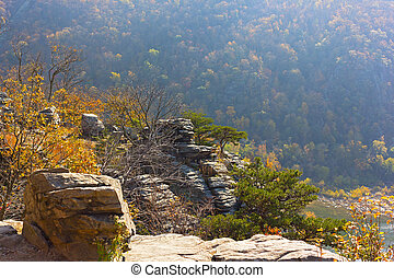 Scenic outlook at high point of Harpers Ferry National Park in West Virginia, USA.
