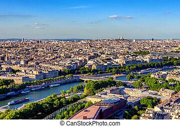 Scenic panorama of Paris from Eiffel's tower - Beautiful...