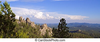 Scenic Panorama - Panoramic view from the Needles Highway in...