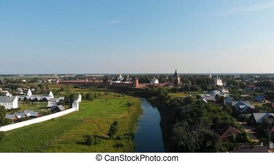 Scenic panoramic view of Suzdal, Russia. Intercession of the...