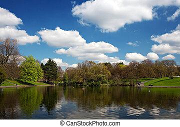 Scenic park lake in spring