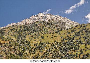 Kyrgyzstan - Scenic peak in mountain range Tien-Shan in ...