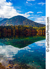 Scenic reflections of multicolored forests in water of the...