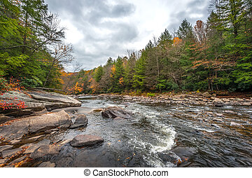 Scenic River with Rapids in the Appalachian Mountains during Autumn